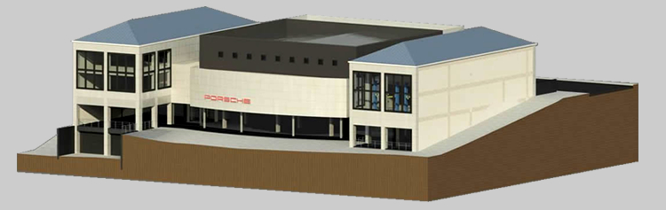3D render of the Porche Showroom on Knysna Main Road