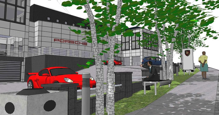 3D render of the Porche Showroom as viewed from Main Road